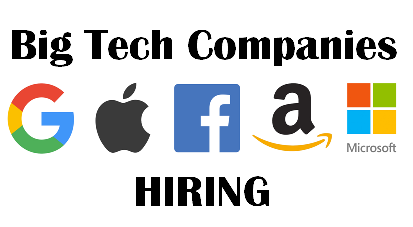 """Jobs at The """"Big Tech"""" Companies (Google, Apple, Facebook, Amazon, and Microsoft) 